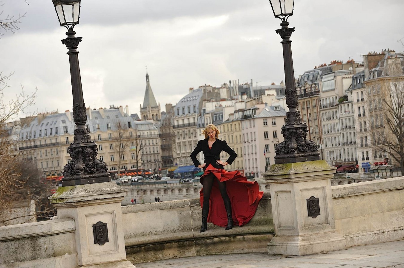 Fashion photography on the bridge, Paris