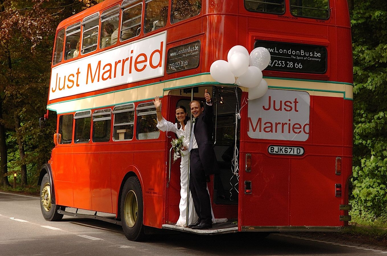 Just married photo, Just married bus with the happiest couple